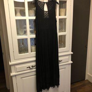 Anthropologie long black dress with eyelet detail